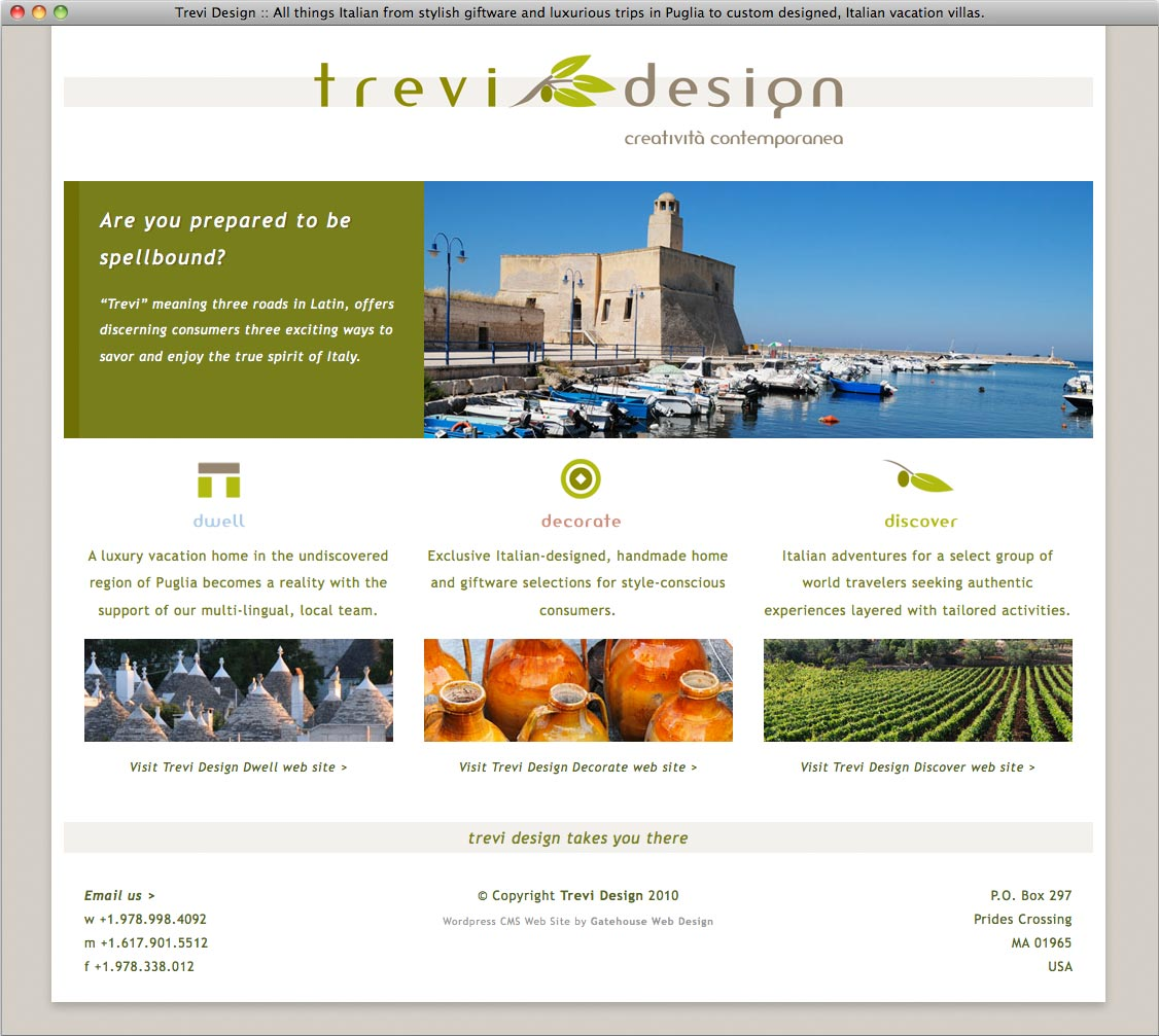 Trevi design for Architecture site web