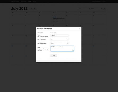 Reservation Calendar modal window