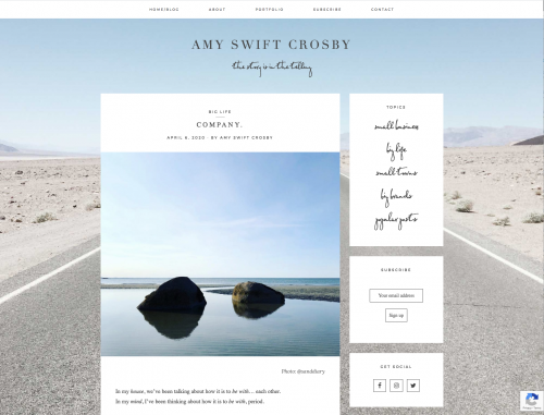 screenshot of Amy Swift Crosby's website