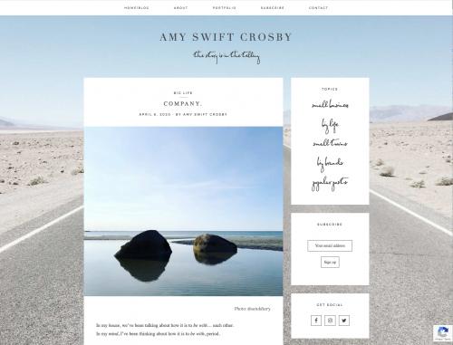 screenshot of Amy Swift Crosby's website