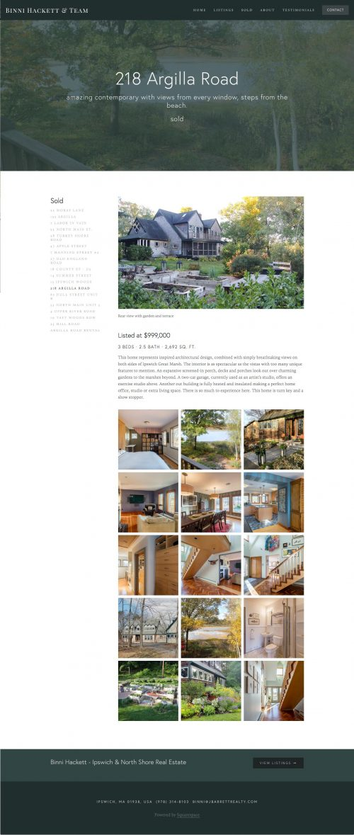Binni Hackett Real Estate Agent Website Screenshot