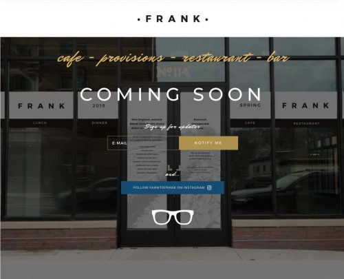 FRANK culinary business coming soon website screenshot