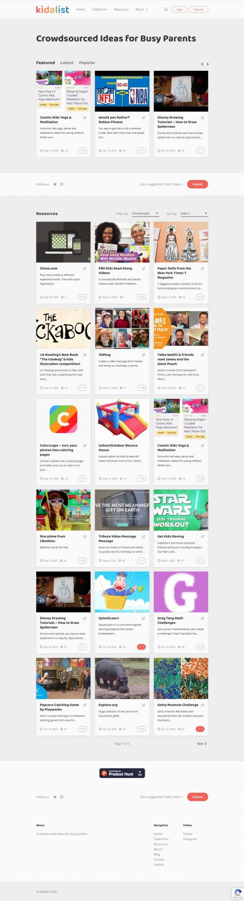 Screenshot of Kidalist.com website crowdsourcing ideas for busy parents