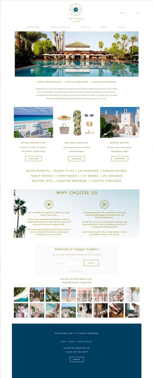 Voyager Club Luxury Travel and Wardrobe Website Screenshot